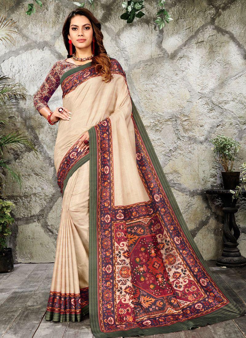 Classic Saree Digital Print Silk in Cream