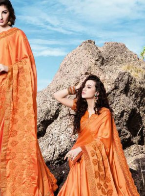 Classic Saree Embroidered Georgette in Orange