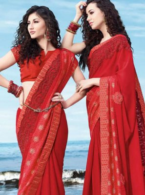 Classic Saree Embroidered Georgette in Red