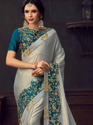 Classic Saree Embroidered Poly Silk in Silver