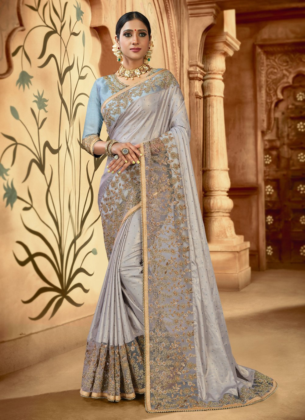 Classic Saree Embroidered Satin in Grey