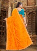 Classic Saree Embroidered Silk in Orange