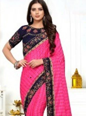 Classic Saree Embroidered Silk in Pink
