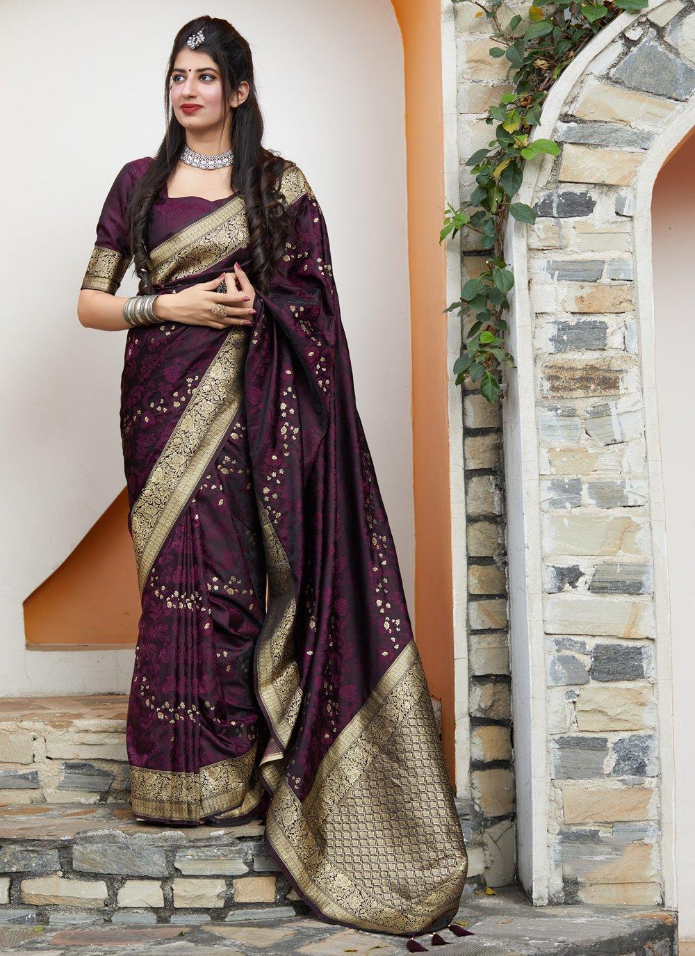 Classic Saree Embroidered Silk in Purple