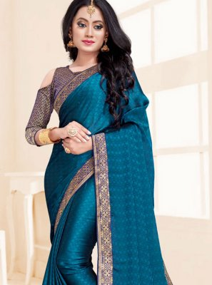 Classic Saree Patch Border Fancy Fabric in Blue