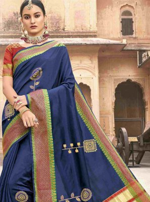 Classic Saree Patch Border Jacquard Silk in Navy Blue