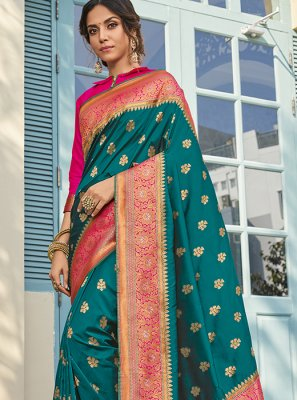Classic Saree Printed Art Silk in Green