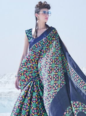 Classic Saree Printed Crepe Silk in Multi Colour