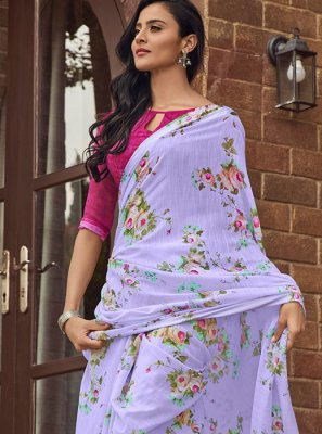 Classic Saree Printed Linen in Lavender