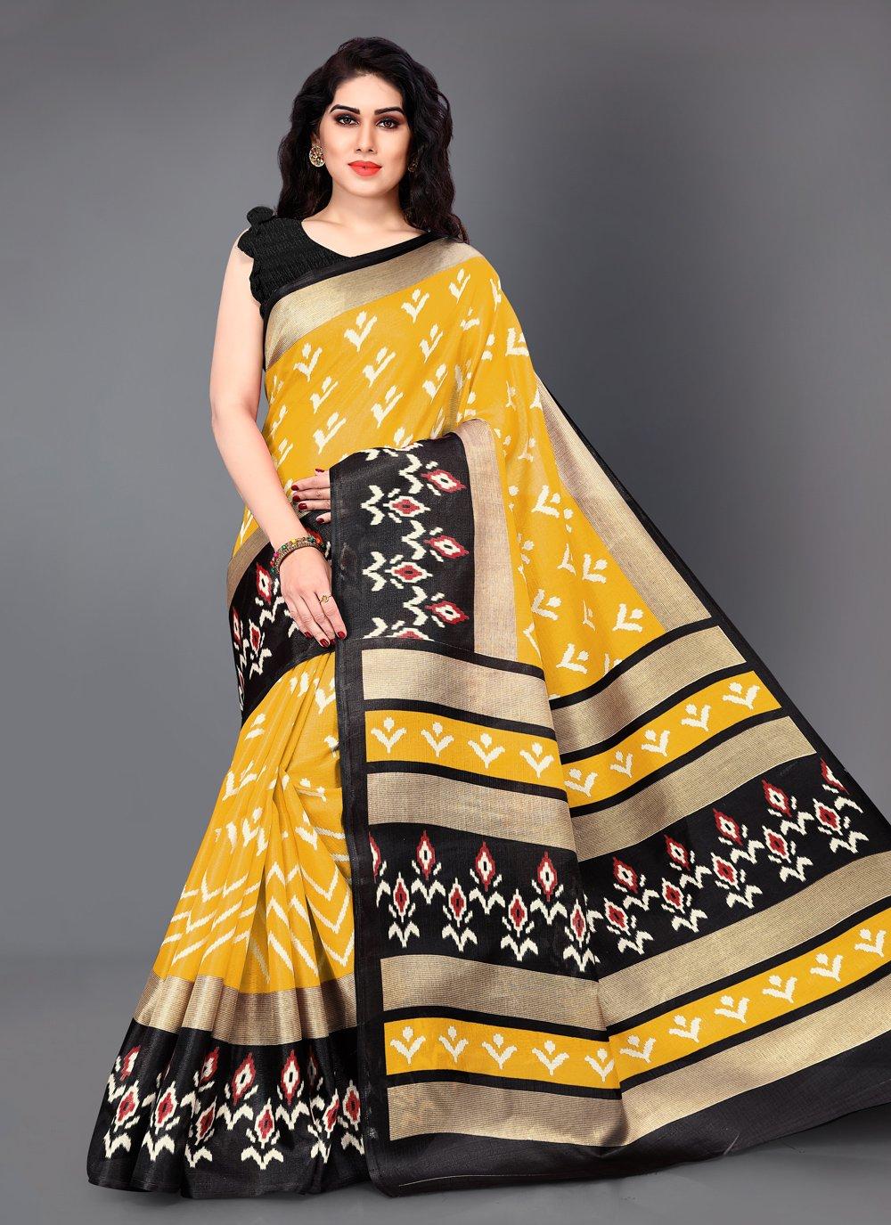 Classic Saree Printed Silk in Black and Yellow