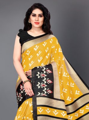 Classic Saree Printed Silk in Black and Yellow