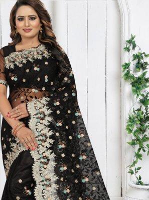Classic Saree Resham Net in Black
