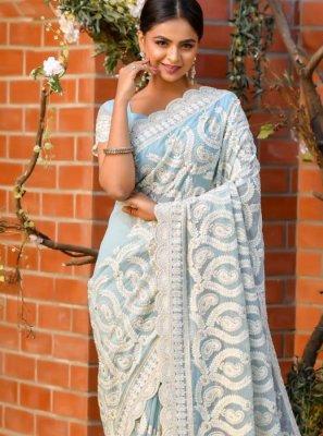 Classic Saree Resham Net in Grey