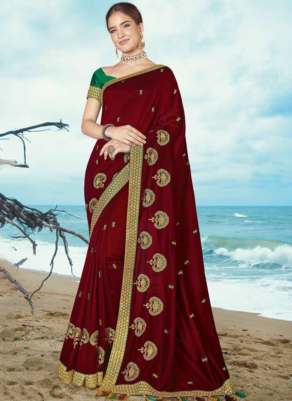 Classic Saree Resham Silk in Maroon