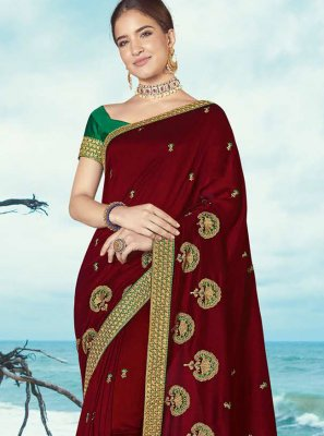 Classic Saree Resham Silk in Maroon