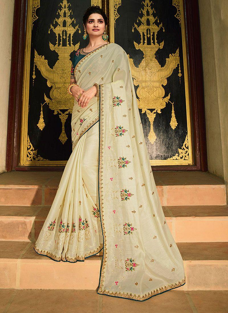 Classic Saree Resham Silk in Off White