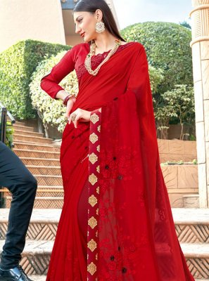 Classic Saree Resham Silk in Red