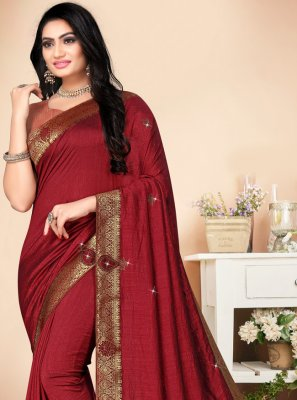 Classic Saree Stone Silk in Maroon