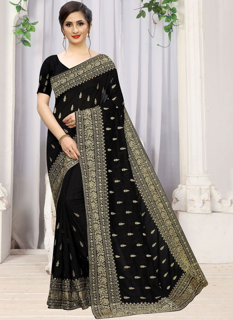 Classic Saree Stone Work Silk in Black