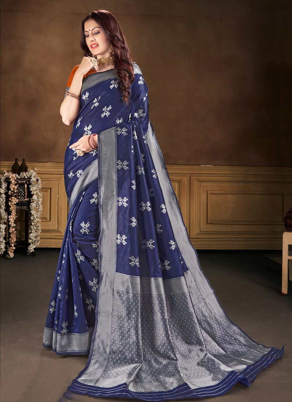 Classic Saree Weaving Banarasi Silk in Blue