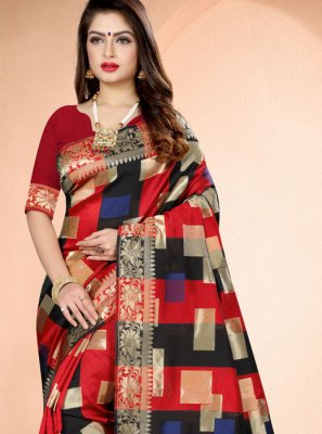 Classic Saree Weaving Banarasi Silk in Red