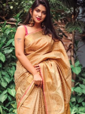 Classic Saree Weaving Silk in Brown