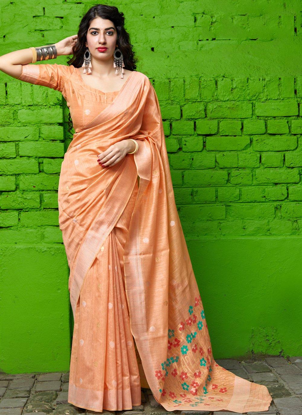 Classic Saree Weaving Silk in Peach