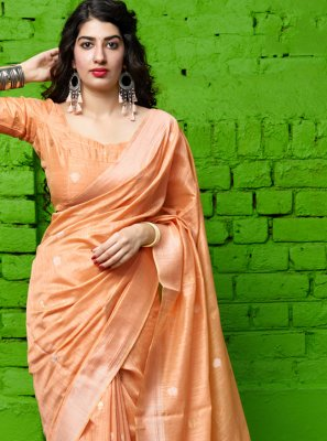 Classic Saree Weaving Silk in Peach