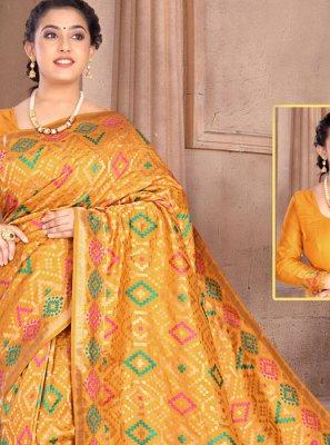 Classic Saree Weaving Silk in Yellow