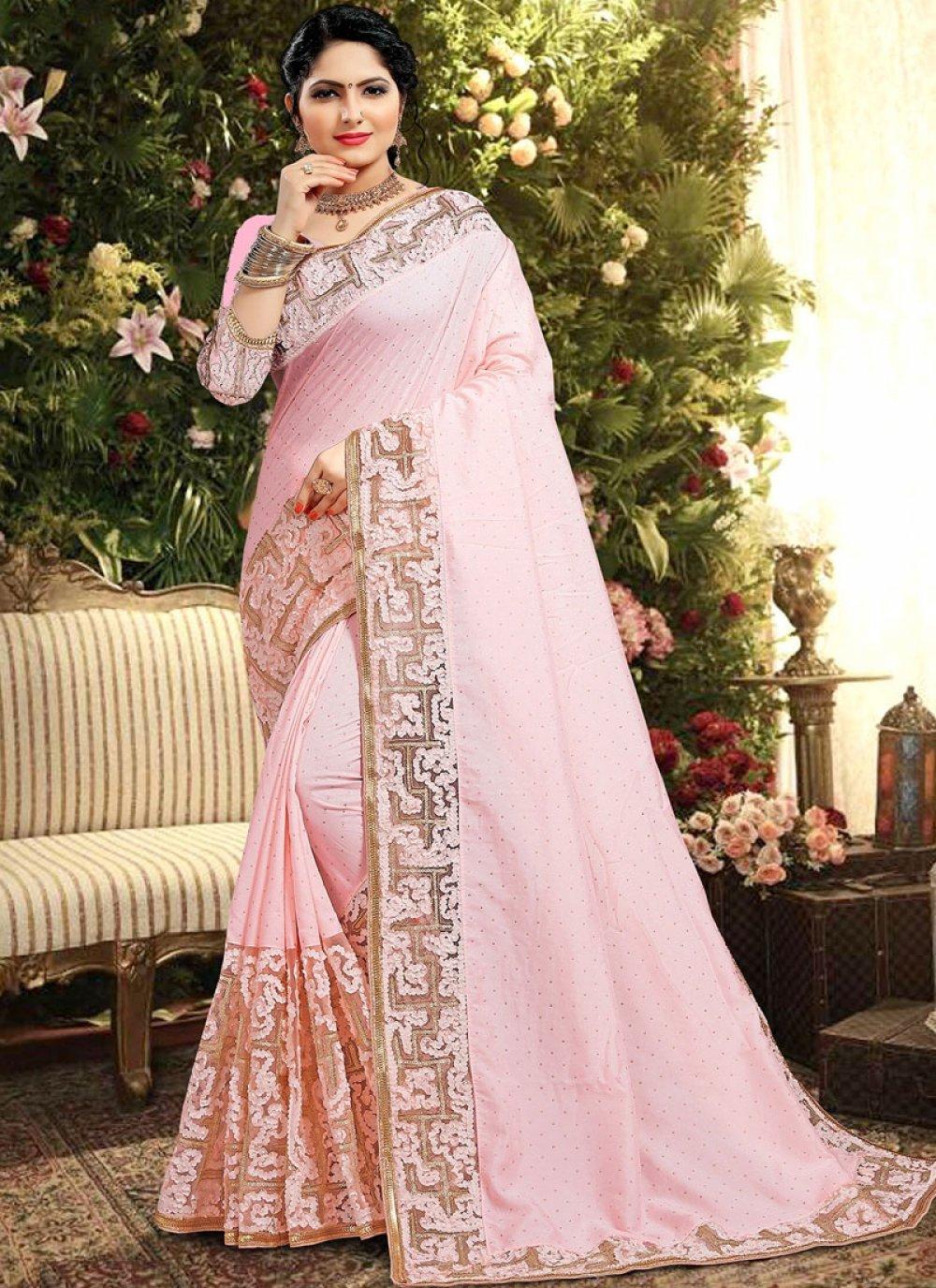 Classic Saree Zari Georgette Satin in Pink