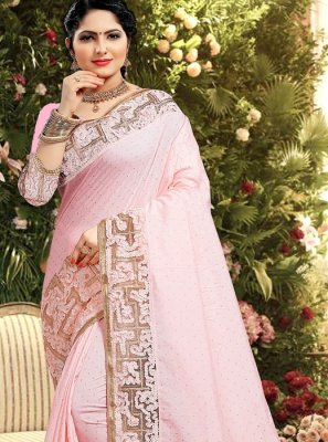 Classic Saree Zari Georgette Satin in Pink