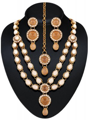 Yellow Stone Work Necklace Set