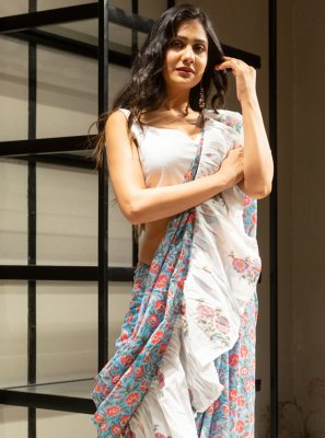 Contemporary Saree Block Print Cotton in Grey and Off White