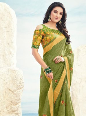 Contemporary Saree Embroidered Cotton in Green