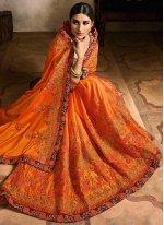 Contemporary Saree Embroidered Rangoli in Orange