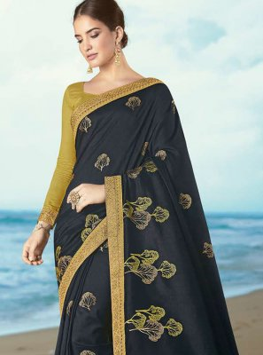 Contemporary Saree Embroidered Silk in Sea Green
