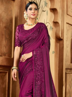 Contemporary Saree Resham Satin in Pink