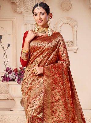 Contemporary Saree Weaving Banarasi Silk in Red