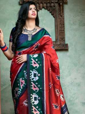 Contemporary Saree Weaving Patola Silk  in Red