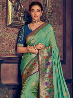 Contemporary Saree Weaving Silk in Green