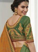 Contemporary Saree Weaving Silk in Green and Mustard