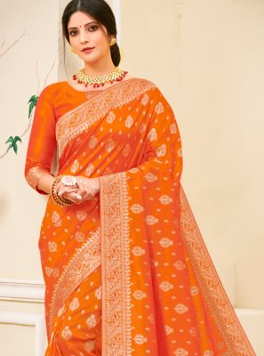 Contemporary Saree Weaving Silk in Orange