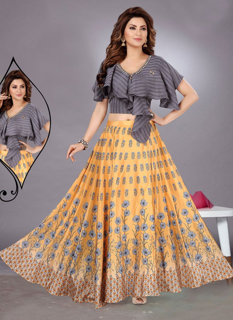 Cotton A Line Lehenga Choli in Mustard