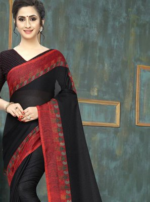 Cotton Abstract Print Black Printed Saree