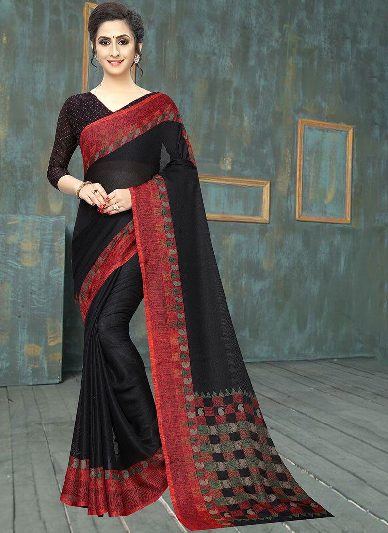 Cotton Abstract Print Black Printed Saree