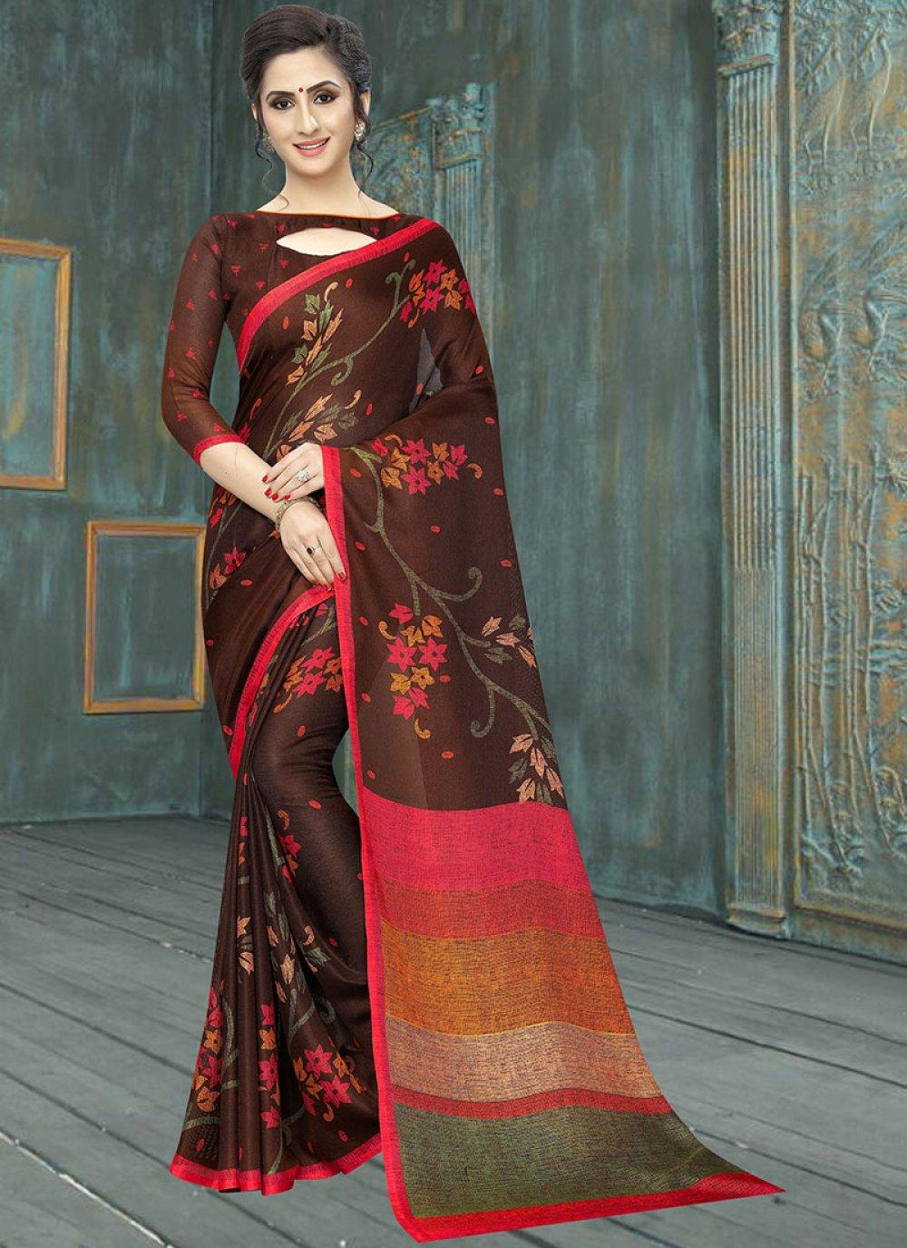 Cotton Abstract Print Multi Colour Printed Saree