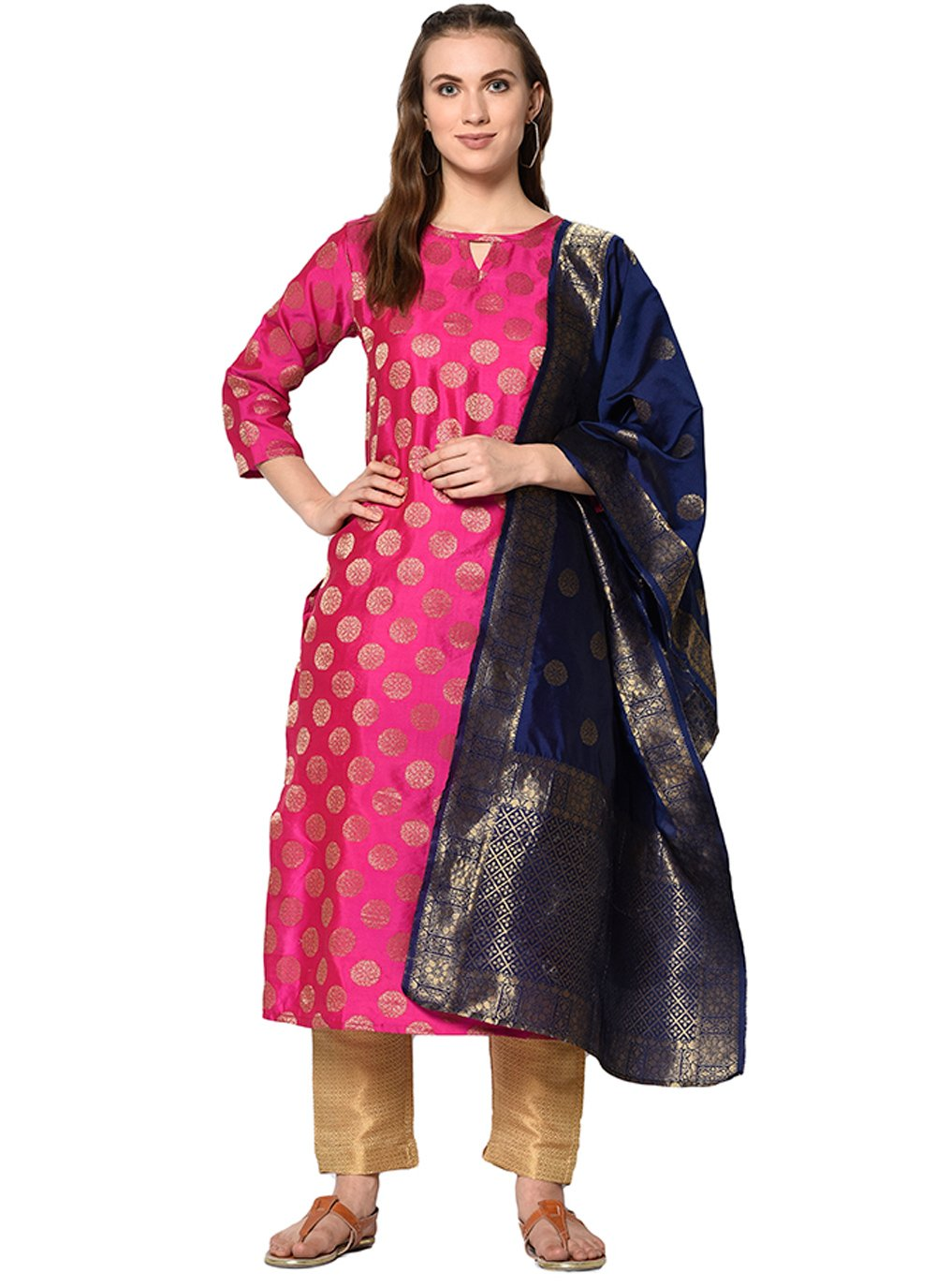 Cotton Abstract Print Pant Style Suit in Pink