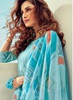 Cotton Aqua Blue Salwar Kameez