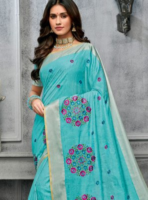 Cotton Aqua Blue Trendy Saree