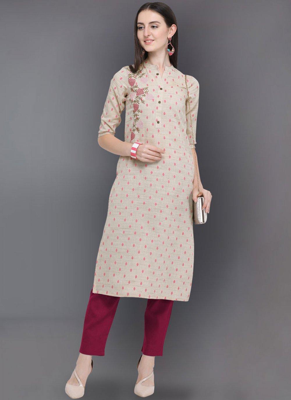 Cotton Beige Embroidered Party Wear Kurti